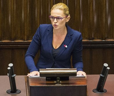 Barbara Nowacka podczas sejmowej debaty