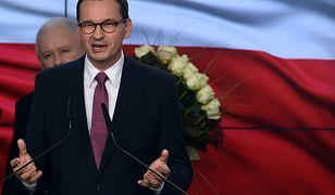 Wieczór wyborczy w sztabie PiS. Premier Mateusz Morawiecki i prezes PiS, Jarosław Kaczyński.