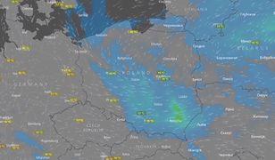 Radar pogodowy, wędrówka chmur deszczowych po niebie