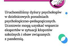 Koronawirus w Warszawie. Rusza wsparcie psychologiczne dla uczniów i rodziców