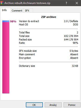 Odświeżony widok informacji o archiwum.