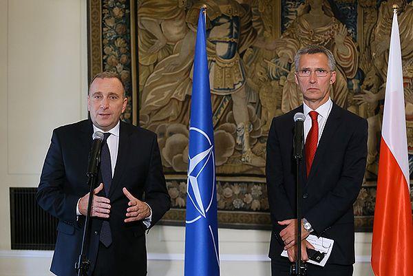 Minister spraw zagranicznych Grzegorz Schetyna i sekretarz generalny NATO Jens Stoltenberg