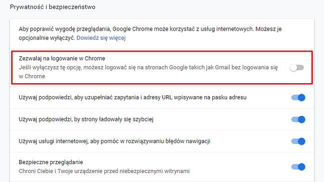 Ustawienia w Google Chrome 70: użytkownik może teraz wygodnie zrezygnować z automatycznego logowania do przeglądarki.