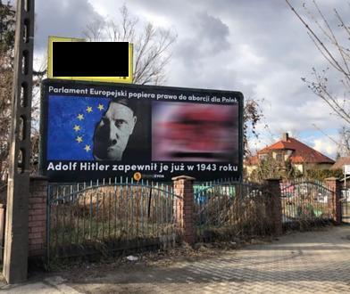 Hitler na tle flagi UE, obok martwy płód. Kontrowersyjny antyaborcyjny billboard