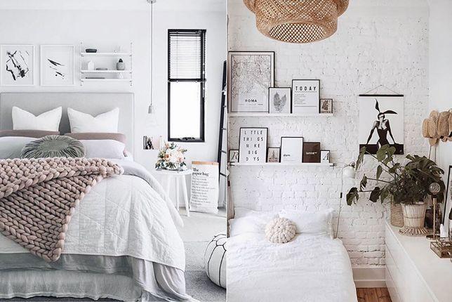 Mała sypialnia w stylu skandynawskim to wnętrze zdominowane przez modelującą przestrzeń biel