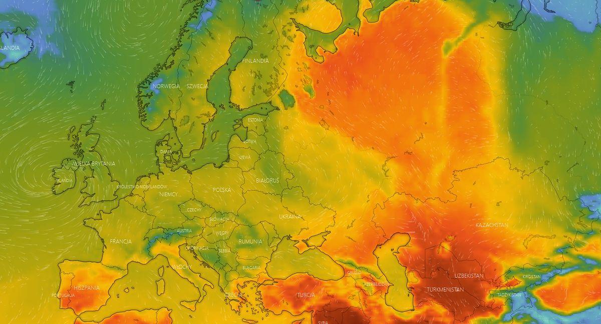 Mapa upałów w Europie - maj 2021