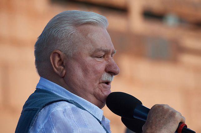 Lech Wałęsa na proteście w Gdańsku