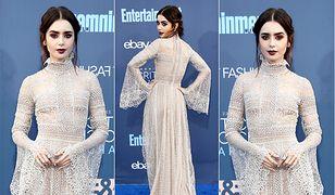 LOOK OF THE DAY: Lily Collins w wiktoriańskiej sukni Elie Saab