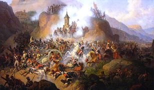 Szarża pod Samosierrą - jeden z najbardziej znanych wyczynów polskich ułanów w bitwie pod Samosierrą. Obraz Januarego Suchodolskiego