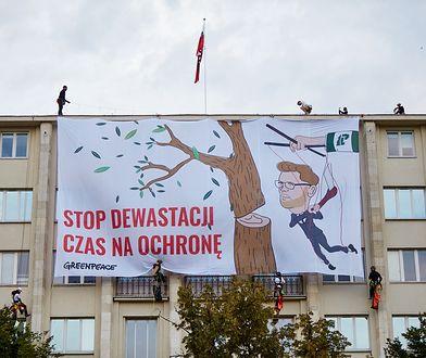 Greenpeace na gmachu resortu środowiska. Aktywiści sprzeciwiają się wycinkom drzew i krytykują ministra środowiska