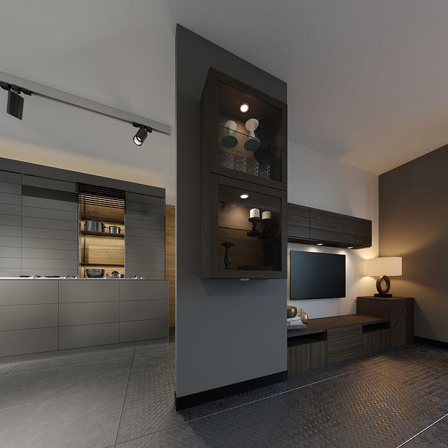 Wnękę z telewizorem uzupełnią praktyczne szafki i półki - kombinacja na TV