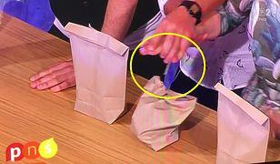 Nieudana sztuczka magika w Pytaniu na Śniadanie. Reporterce przebito rękę gwoździem!