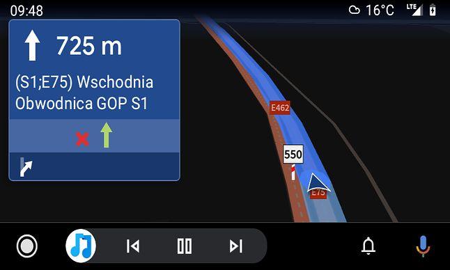 Ciemny motyw w AutoMapie w Androidzie Auto