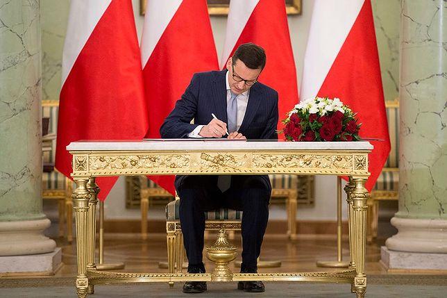 Premier Mateusz Morawiecki w Pałacu Prezydenckim.