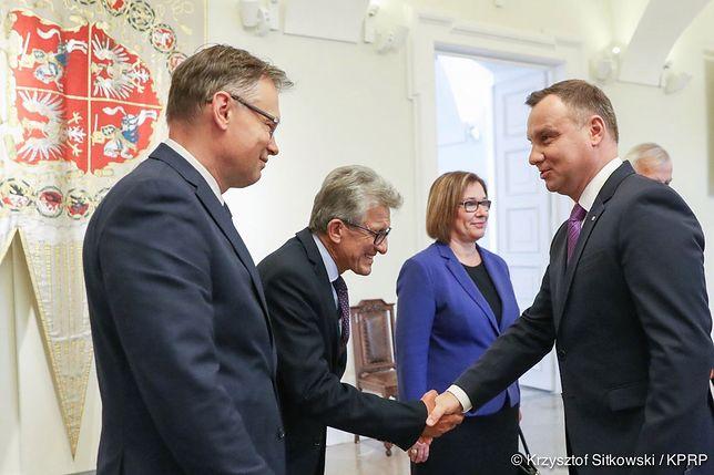 Prezydent Andrzej Duda na spotkaniu z politykami PiS.