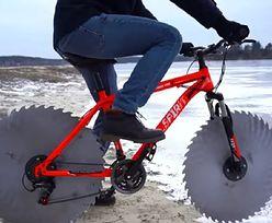 Szalony pomysł! Jeździł rowerem po lodzie, zamiast kół - tarcze od piły