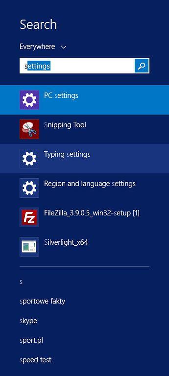 Wyszukiwanie programów w Windows 8.1