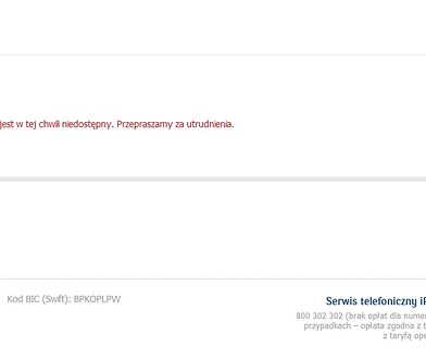 Taki komunikat witał nas w poniedziałek po wpisaniu adresu serwisu internetowego PKO BP.