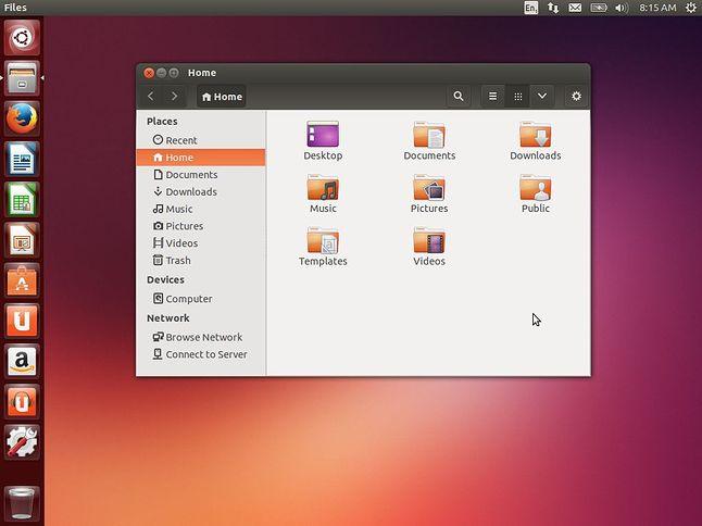 Pulpit w Ubuntu 13.10 z otworzonym managerem plików