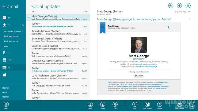 Poczta w Windows 8. Trochę słabo, zwłaszcza, że to rzekomy następca doskonałego Windows Live Mail.