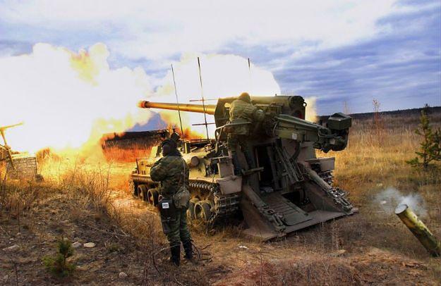 Białoruska artyleria w trakcie ćwiczeń