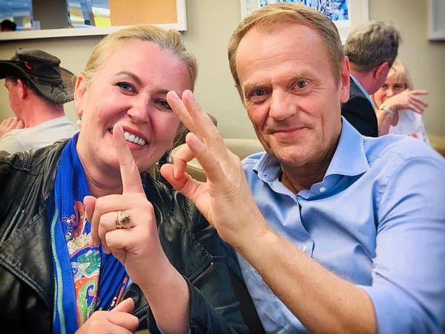 Elżbieta Łukaciejwska i Donald Tusk