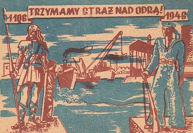 """Komunistyczny plakat. """"Trzymamy straż nad Odrą"""""""
