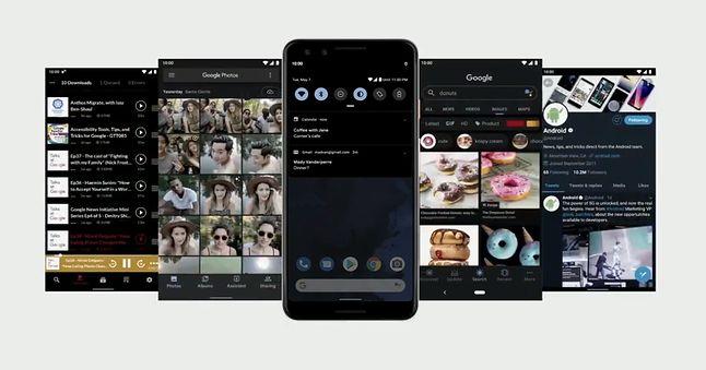 Ciemny motyw Androida Q, fragment prezentacji Google I/O 2019, źrodło: Google.
