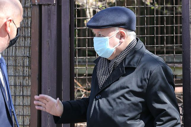 Koronawirus w Polsce. Obowiązek zakrywania twarzy również dla prezesa PiS. Jarosław Kaczyński i maseczka z kotem