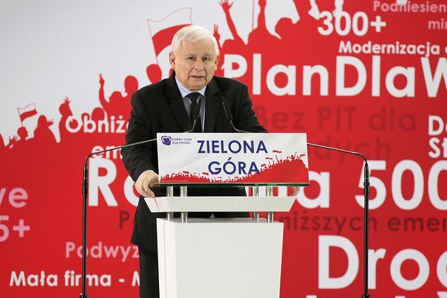 Zielona Góra. Spotkanie Jarosława Kaczyńskiego na konwencji PiS przed wyborami parlamentarnymi 2019