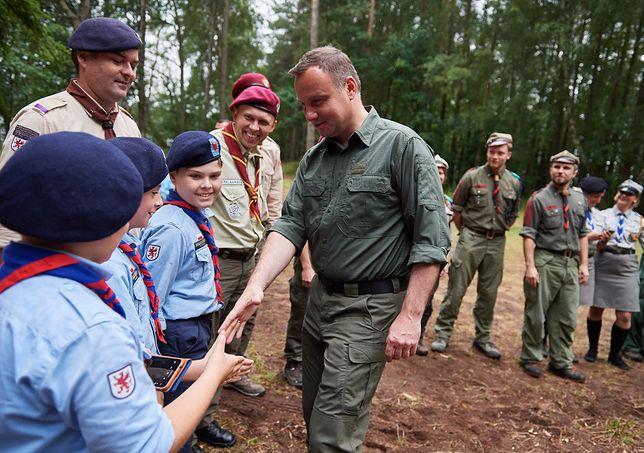 Prezydent przywitał się z harcerzami