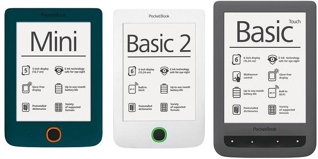 Od lewej PocketBook: Mini, Basic 2, Basic Touch