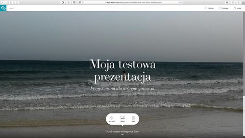 Z Adobe Slate zrobisz pokaz slajdów w przeglądarce