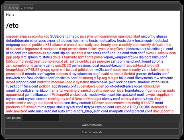 Okno Bonsole z uruchomionym przykładowym programem - odpowiednikiem ls