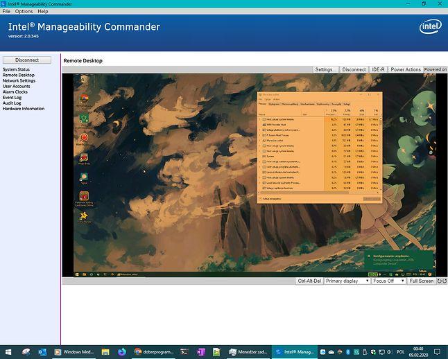 Obraz z komputera zdalnego. W systemie nie ma serwera VNC, zdalny pulpit jest wyłączony. KVM przesyła nawet tryb nocny (fot. Kamil Dudek)