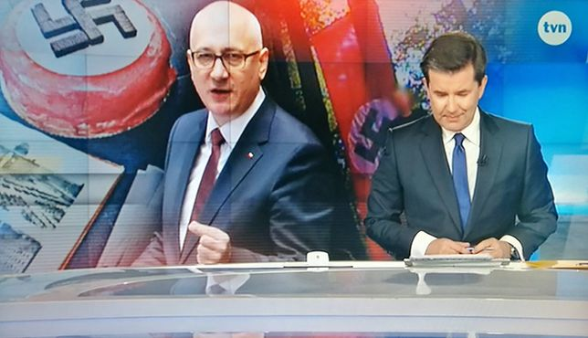 Joachim Brudziński na tle swastyk. KRRiT zajmie się grafiką TVN