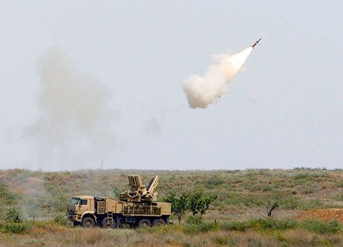 Zestaw przeciwlotniczy Pancyr w działaniu