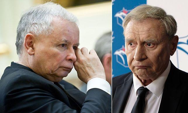 """Jarosław Kaczyński i portretujący postać do niego podobną w """"Polityce"""" Andrzej Grabowski"""