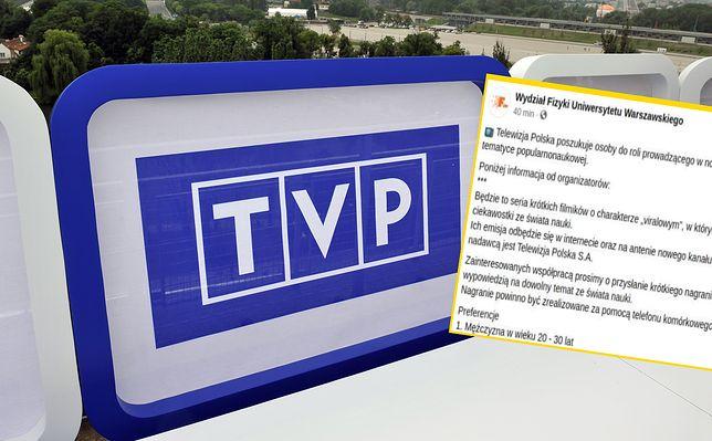 TVP Nauka szuka prezentera do nowego programu. Musi być mężczyzną