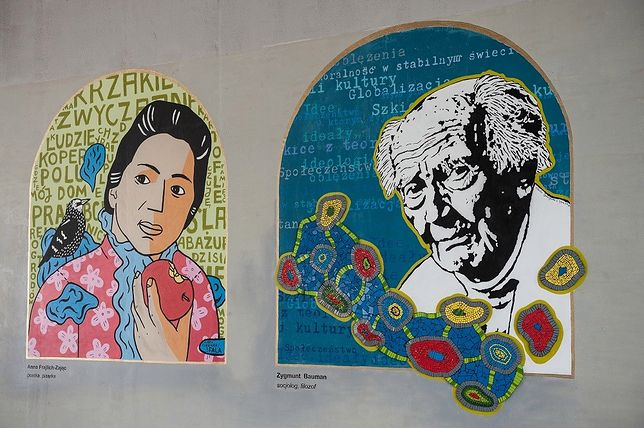 """""""Morderca"""", """"Mjr UB"""". Zdewastowano mural z Zygmuntem Baumanem"""