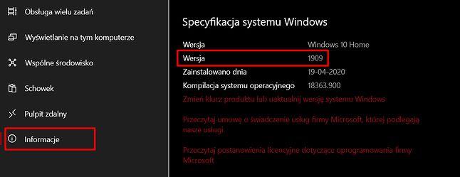 Informację o wersji Windows 10 można znaleźć w ustawieniach, fot. Oskar Ziomek.