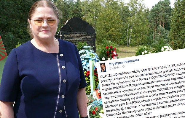 Kontrowersyjny wpis Krystyny Pawłowicz. Tym razem dostało się... rodzinom smoleńskim