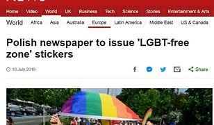 """""""Strefa wolna od LGBT"""". BBC News o kontrowersyjnych naklejkach """"Gazety Polskiej"""""""