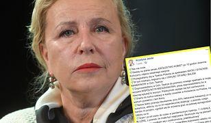 Krystyna Janda zamieściła wymowny komentarz