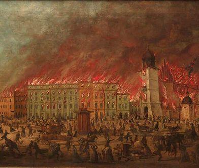 Pożar Krakowa na obrazie Baltazara Stachowicza z 1850 r.