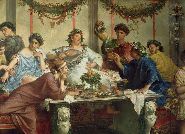 Nie tyle za udział w takiej uczcie, co za samo napicie się wina, Rzymianin miał prawo rozwieść się z żoną. Czasem jednak wolał wymierzyć karę… Na ilustracji obraz Roberta Bompiani