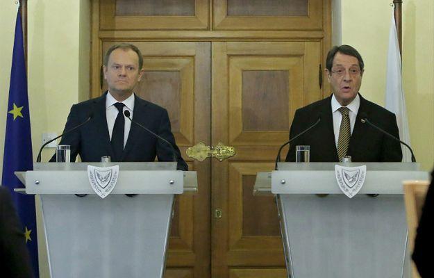 Szef Rady Europejskiej Donald Tusk i prezydent Cypru Nikos Anastasiades