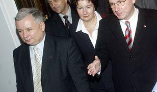 2005 rok. Od lewej: Jarosław Kaczyński, Kazimierz Marcinkiewicz, Hanna Gronkiewicz-Waltz, Jan Maria Rokita.