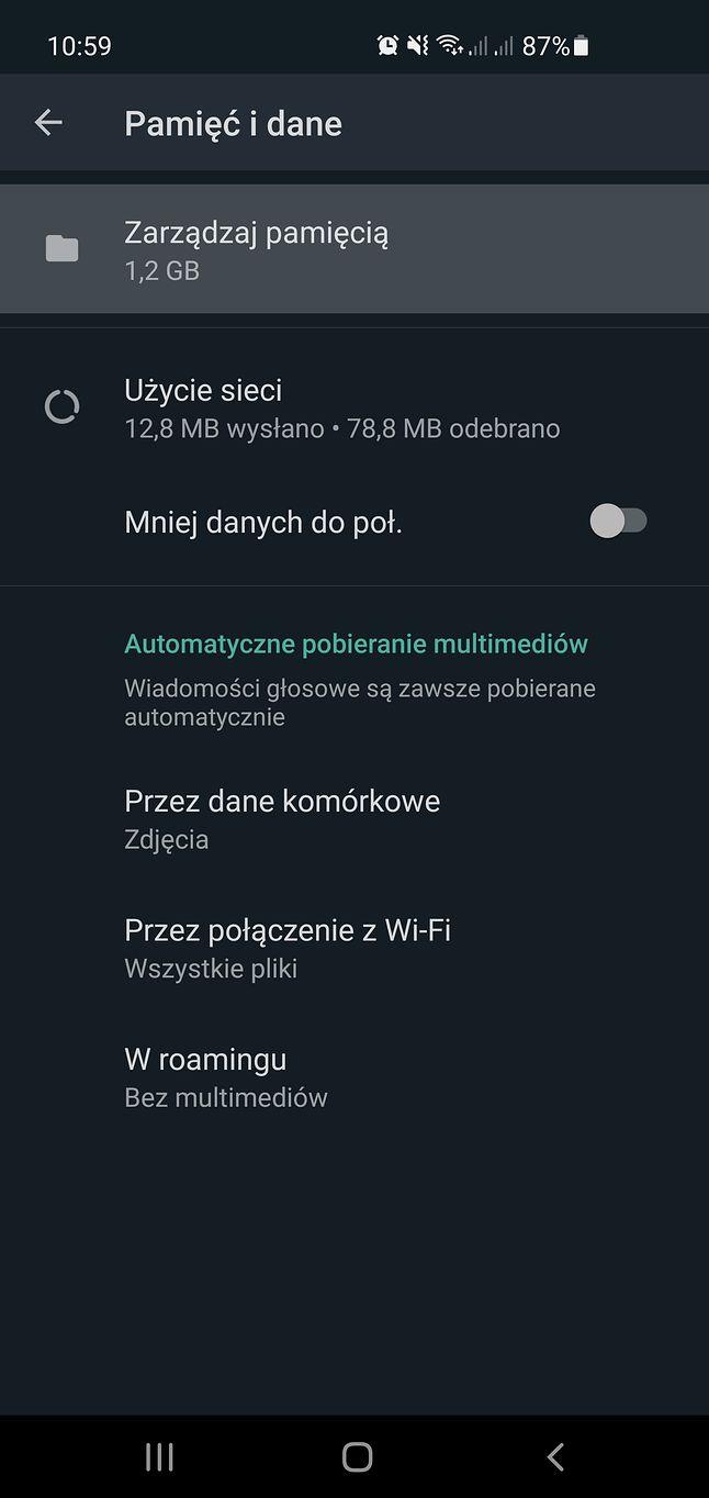 Zarządzanie pamięcią w WhatsAppie