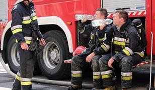 Zgierz. Miejsce, w którym doszło do wycieku zabezpieczały trzy jednostki straży pożarnej (zdjęcie ilustracyjne)